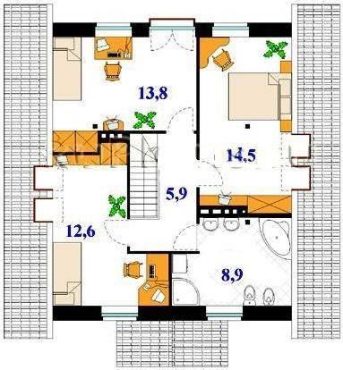 Интерьеры одноэтажных загородных домов 149