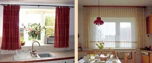 Короткие шторы для кухни основные